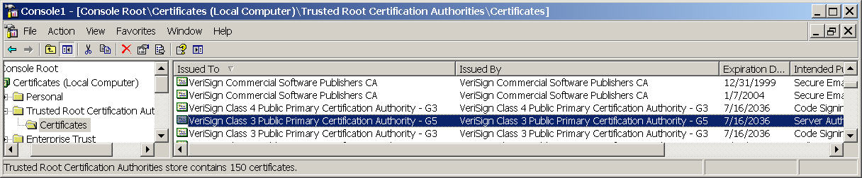 Disable VeriSign Class 3 Public Primary Certification Authority - G5
