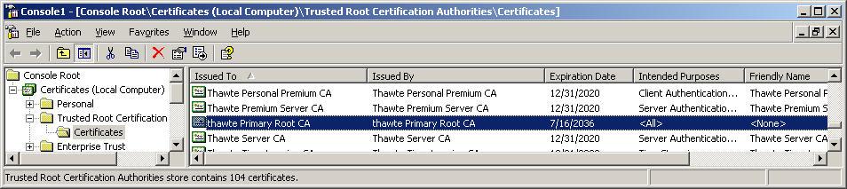 Disable Thawte PCA (2036) root