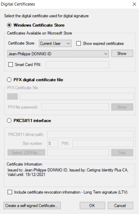 Image selection of the Certigna certificate