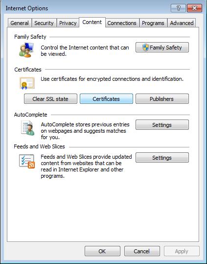 Internet Options - Content - Certificates