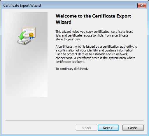 Certificate export dialog - First page