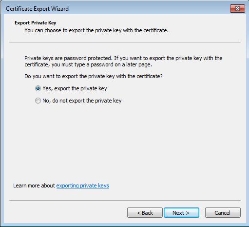 Certificate export dialog - Private key export