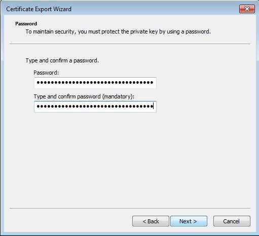 Certificate export dialog - Password choice