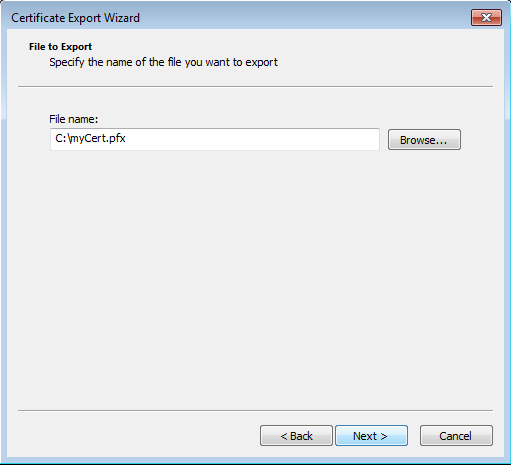 Certificate export dialog - Path and filename choice