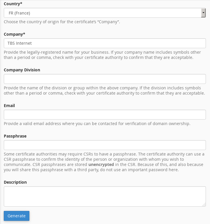Generate a CSR with cPanel 11 54-56