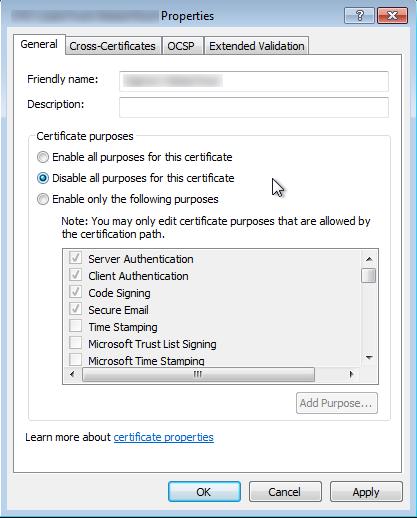 Certificate properties