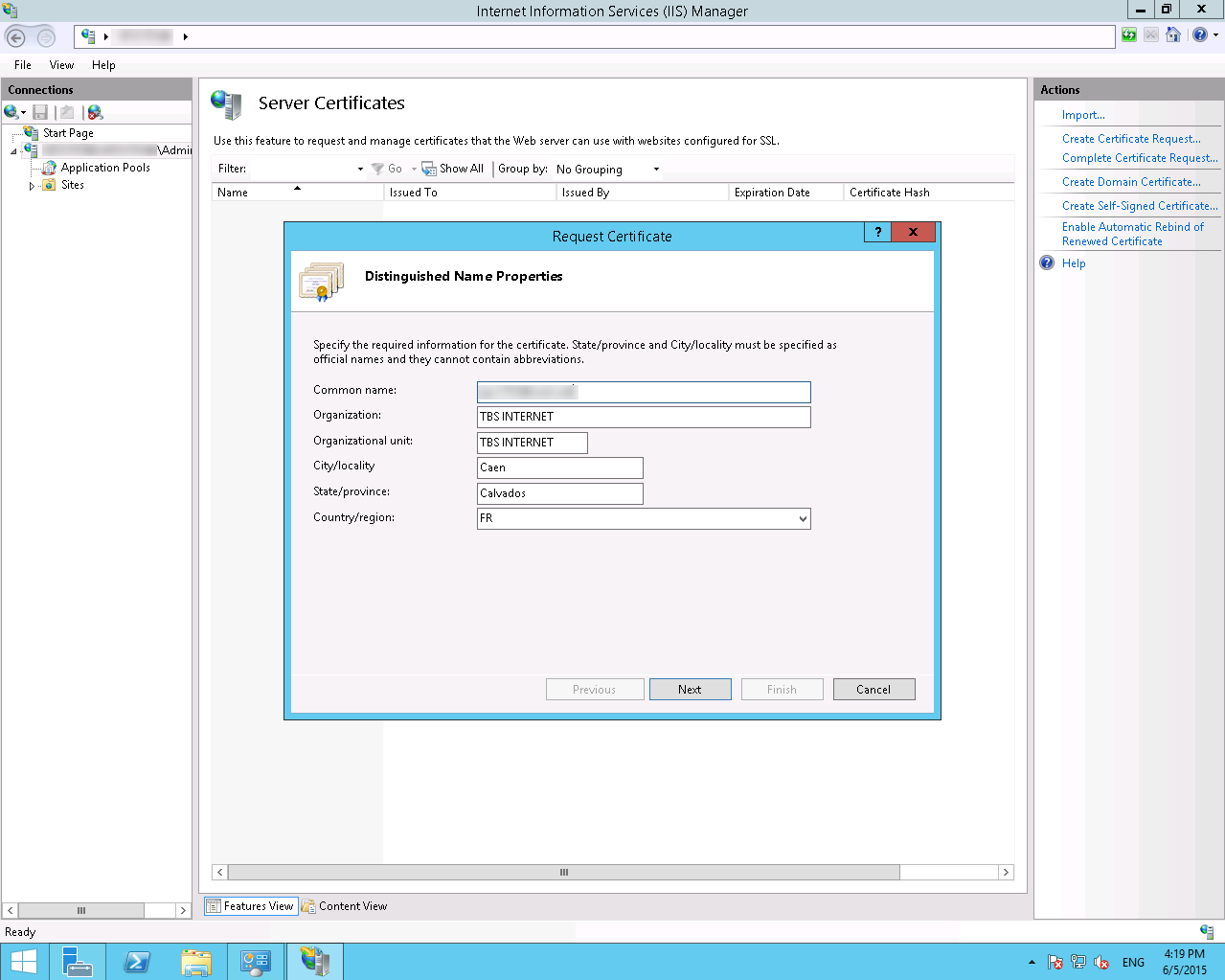 Generate A Csr With Microsoft Iis85 And Windows Server 2012r2