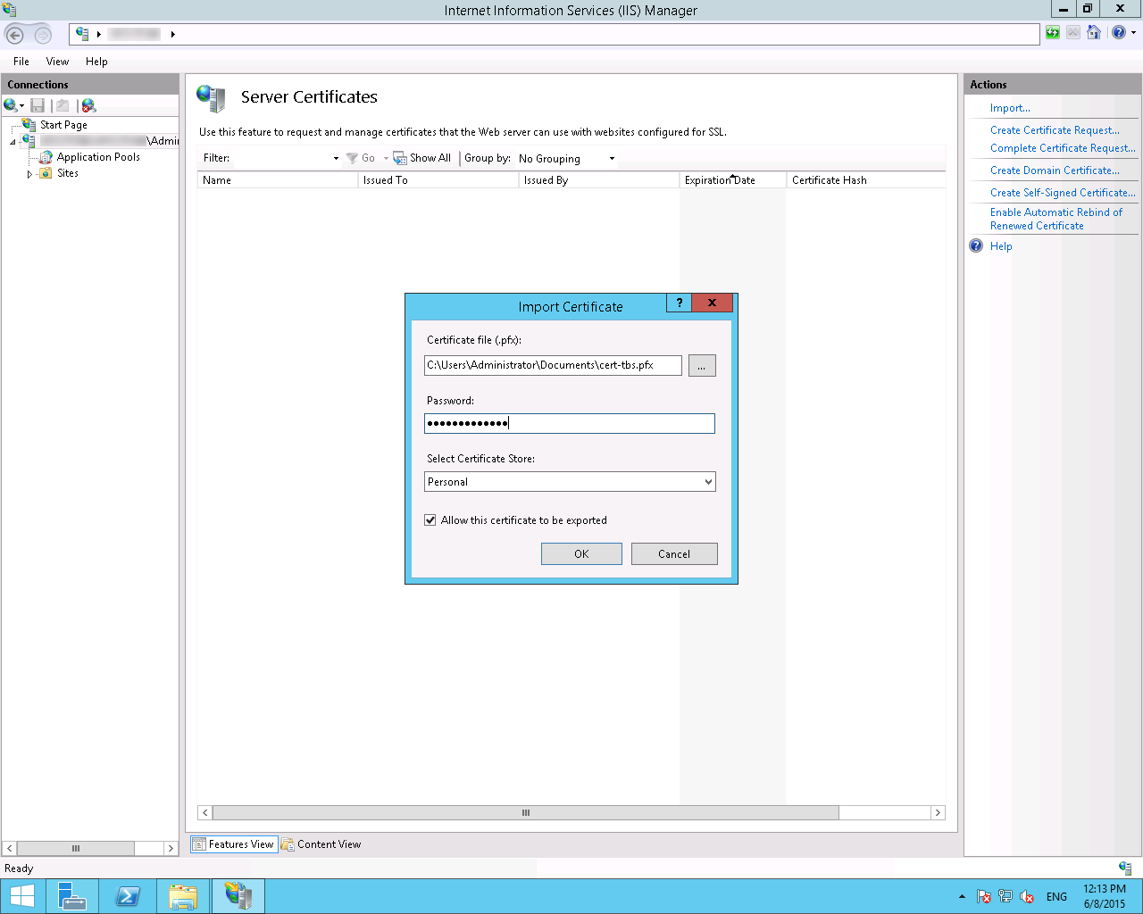 Install a pfx file with microsoft iis85 and windows server 2012r2 file export dialog xflitez Choice Image