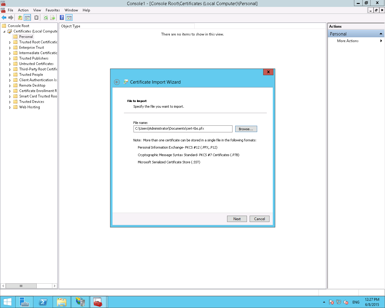 Install a pfx file with microsoft iis85 and windows server 2012r2 file import dialog xflitez Choice Image