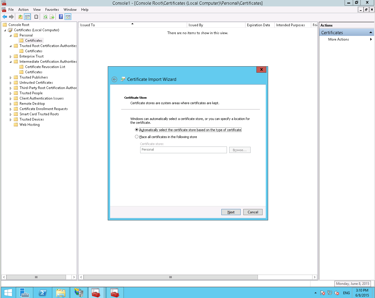 Install A Pfx File With Microsoft Iis85 And Windows Server 2012r2