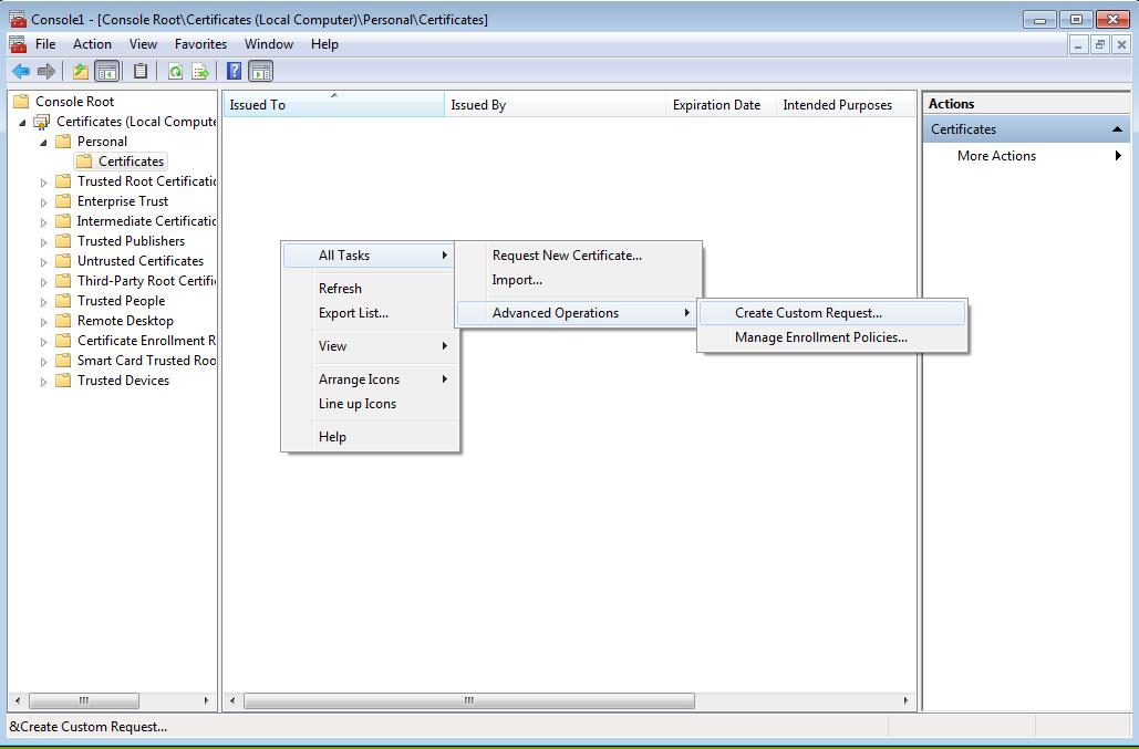 Generate a CSR from Windows Server using the certificate MMC
