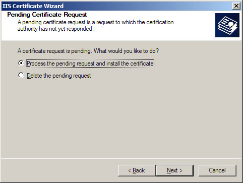 Request completion dialog