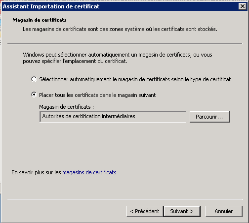 Install intermediate certificates or root certificates manually