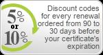 Code de réduction sur renouvellement certificats